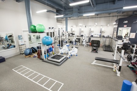 An overview of the gym at Collegiate Sports Medicine